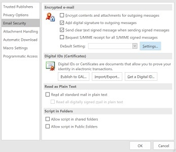 Outlook windows - Signing and encryping - Uppsala University