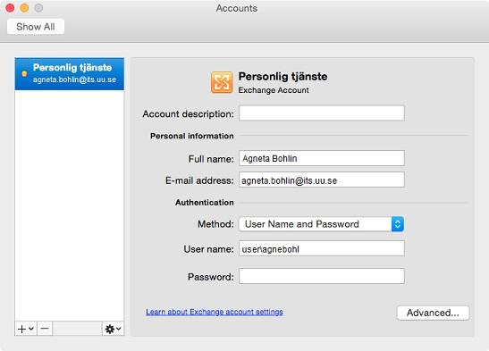 Outlook Mac – Settings - Uppsala University